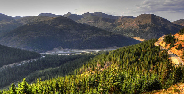 Looking back down at I-70 in Colorado from about halfway up to Loveland Pass.