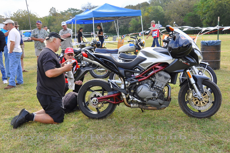 How about this late model Benelli?  He's got an interesting collection, his next bike is a Ducati Diavel