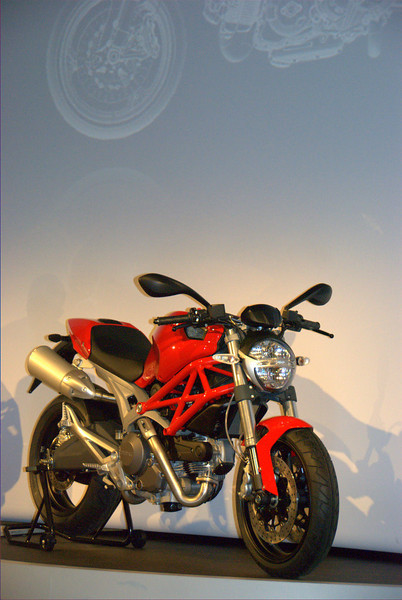 Finally the bike everybody in the room has been waiting to see, the newest version of the Ducati Monster.  The Monster represents roughly half of Ducati sales. The introduction of a new model is a huge event.