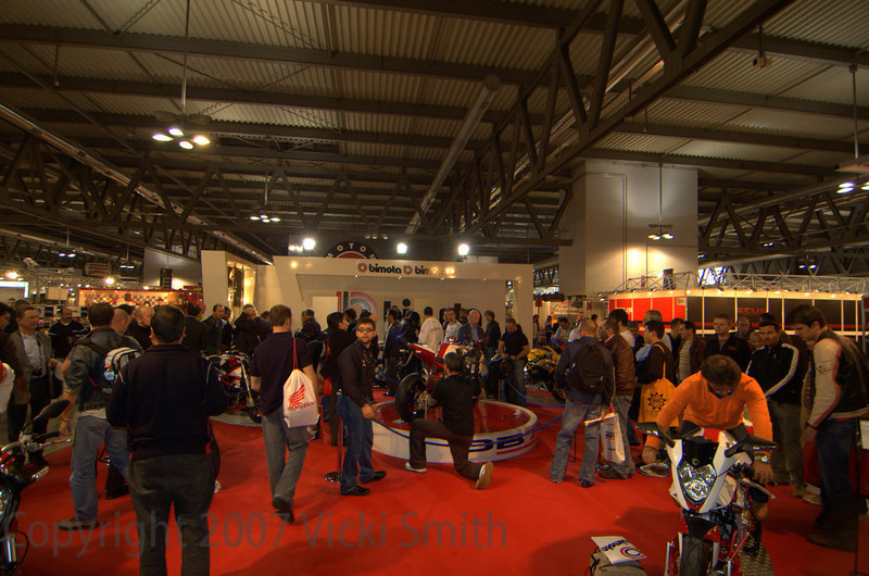 Bimota had a small display but a big crowd
