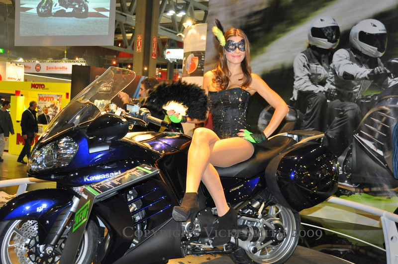 Kawasaki had a large display and the models were dressed for Carnival.