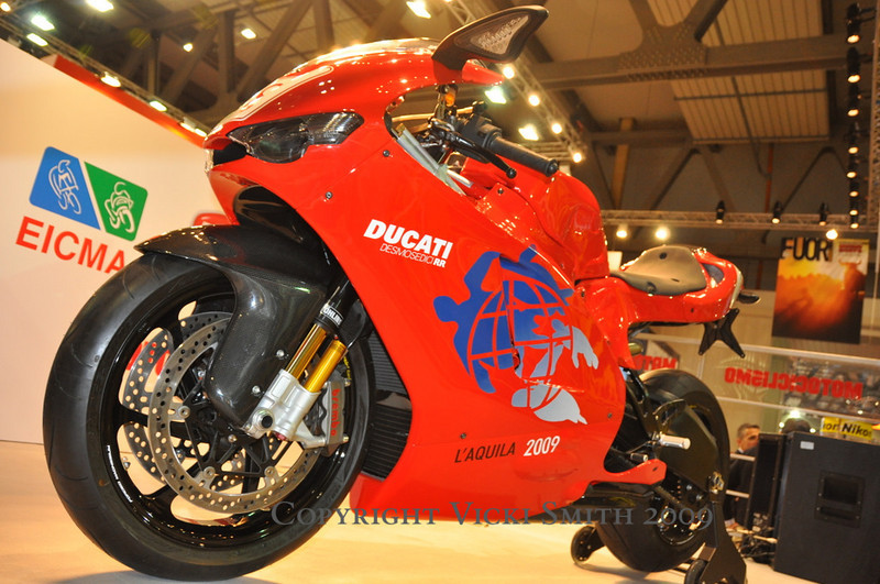 This is the G8 bike Ducati donated to the people affected by the L'Aquila earthquake.  It will be delivered to it's new owner after the show.