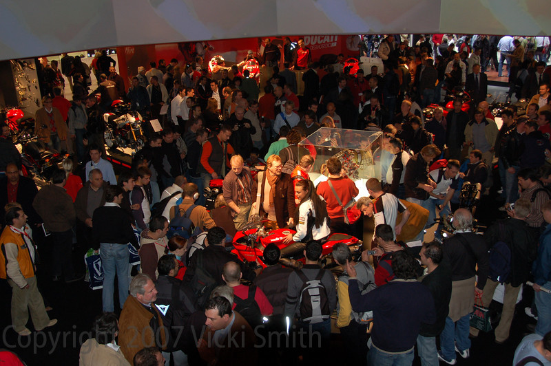 The Ducati booth was by far the most crowded display in the show with a line all day long to get near the new 1098 Superbike