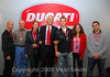 Gabriele del Torchio poses with the winners of the Ducati Superbike Concorso contest who were here on the winners trip
