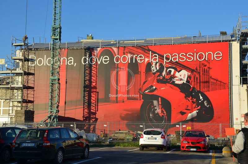 The famous Ducati factory sign is a bit buried under construction equipment at the moment