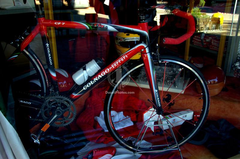 Colnago road bike, in the Maranello Ferrari store window