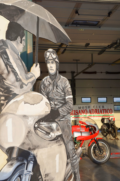 A number of clubs rented garages and set up bike displays, some were reasonably elaborate like this one with it's giant hand painted displays