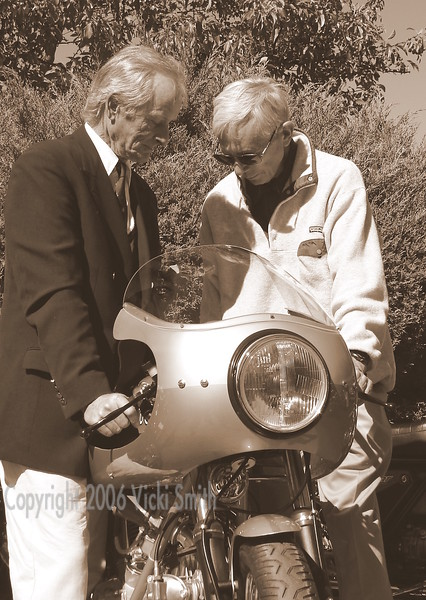 """I thought this photograph looked like the ones you see in the old Ducati books """"so and so examine the new 1974 Ducati SS"""" so I changed it to Black and White."""