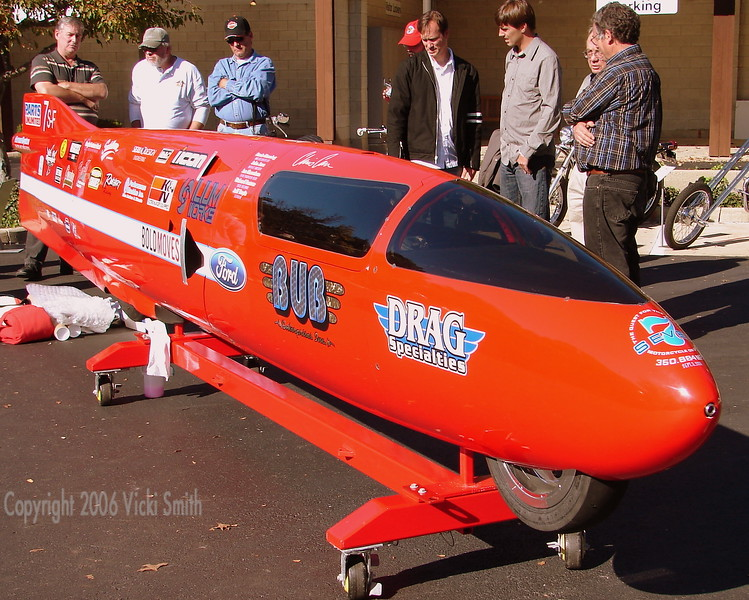 That's Doug Chandler  (Hall of Fame Class of 2006) looking over Chris Carr's Bonnevile ride. It recently set a speed record at just over 350 mph. Burt Monroe's family was at the event as well (The World's Fastest Indian's owner was being inducted as well).  You have to wonder what they thought of it.
