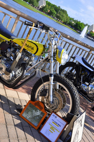 The range of what was on display was pretty complete - this Yamaha flat tracker was just one of so many varied bikes to look at.  My guess was close to 400 bikes were on display