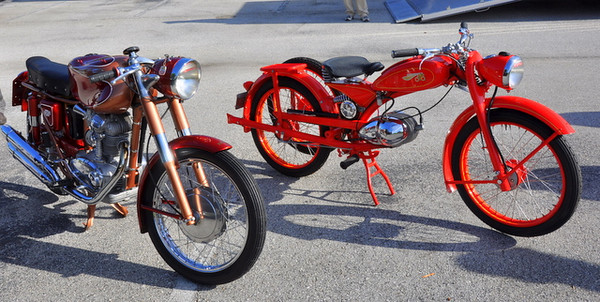 The one on the left is my Ducati 175SS, a classic beauty built in the late 50's and just like the one I ride yearly in the Motogiro d'Italia.  The bike on the right is a 1950 Imme, one of the most ground breaking designs you'll ever see, it belongs to my friend Pogo Evans