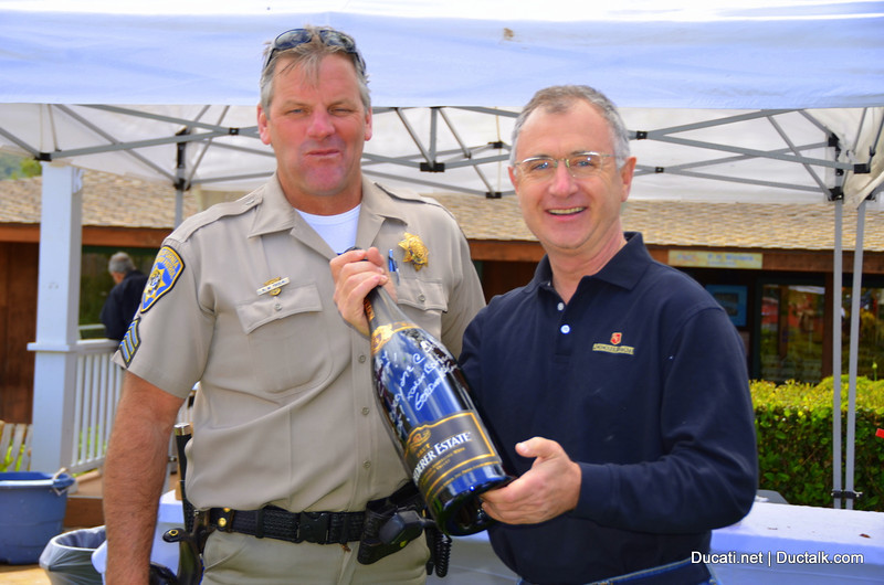 Xavier Barlier from Roderer presents a gift to the CHP for their great service