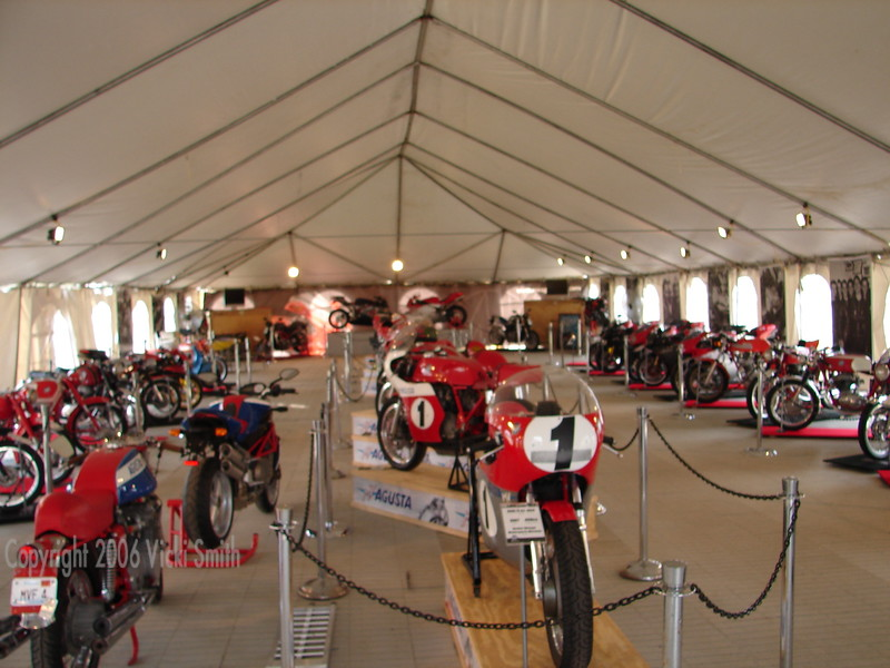 The highlight of Vintage Days is the Marque of the Year Museum. This years exhibit was MV Agusta. $5 Million in bikes brought together by private owners at their own expense sums up the passion the marque inspires. Organizing it all takes us months and months but the results are really worth it. Because of the size of the tent it's possible to display the entire MV lineage from the beginning to current in a historical timeline that really shows off the heritage and it's evolution.
