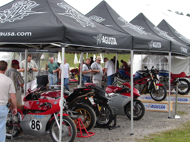 Owners who rode up had special parking as well.  The 350 racer on the end was in the AHRMA races and came over between races