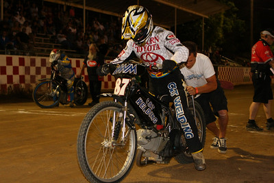 Bart Bast gets a bump at the start of the Division I Scratch Main Event at Fast Friday's.  Going into this week's meeting, Bast was leading all riders in track points with 876.  Just below Bast was Tommy Hedden with 676 and 2008 AMA/USA National Speedway Champion Billy Janniro at 656.