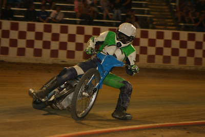 Vance Felicio dusted off his old leathers to race in the special vintage speedway program.  Felicio won the event.