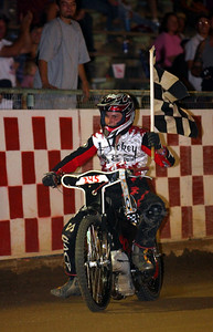 Bryce Starks celebrates his handicap main event win.