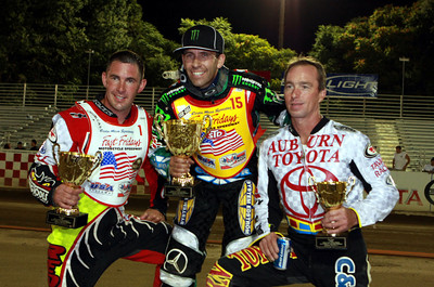 Greg Hancock (C) shares the winner podium with second place finisher and 2008 National Champion Billy Janniro (L) and third place finisher Bart Bast (R).  Hancock was the points & A Main winner in the second round or the National Speedway Championship at Fast Friday's in Auburn Ca July 10th.  Hancock sits with 41 points after two rounds, Janniro a close second with 36 and Bast has 26.  The final round to decide the 2009 AMA/USA Speedway Championship will be held Oct. 2.