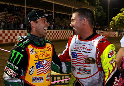 Greg Hancock (L) and Billy Janniro share a light moment after the A Final.  Janniro congratulated Hancock on a great race.