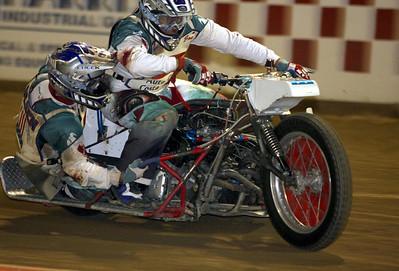 Sidecar team of Joe Jones, driver and Jimmy Olsen.