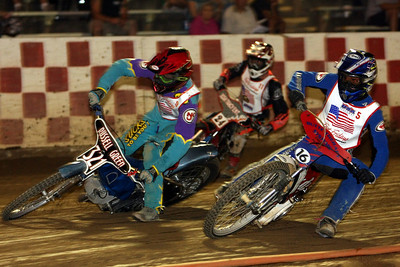 (L-R) Russell Green, Ben Essary, (#11) and Alex Marcucci race a heat race in the U21 Championship program.