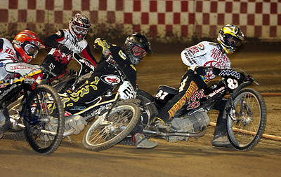 Getting in on in a scratch heat race from left to right, Billy Janniro, Bryce Starks, Mark Carrillo, and Bart Bast.
