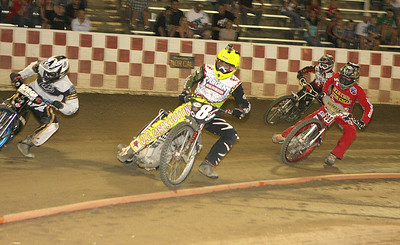 Bryan Yarrow (front) had a great night winning the Challenge Elimination and the scratch main event.