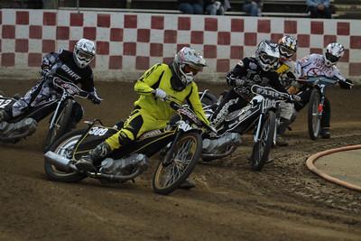Matt Drury leads riders in turn one