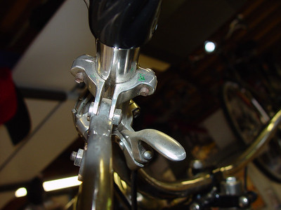 Low angle view of lever mounting