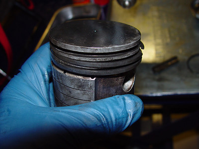 Piston with top ring removed.