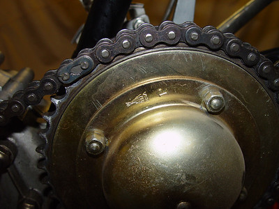 Clutch & primary chain. Note that chain clip is on backwards.
