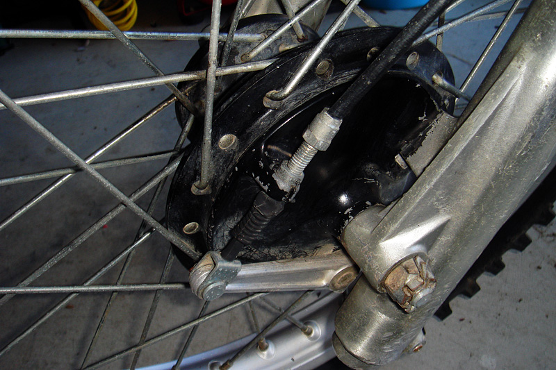 Front brake & hub assembly.  This was also spray painted black whle on the bike (the spokes also bear evidence of this).
