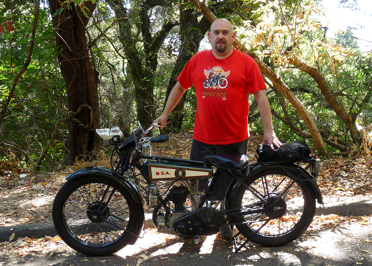 Me & my '27 BSA on La Honda Road. Tiny bike, huh?