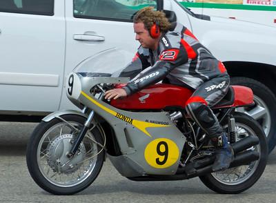 Jeff Elings on the ex Mike Hailwood Honda Four racer
