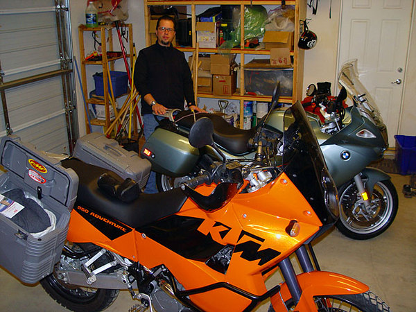 This is Shawn, his garage, and that is his bike, aka The Dolphin (night prior to departure).