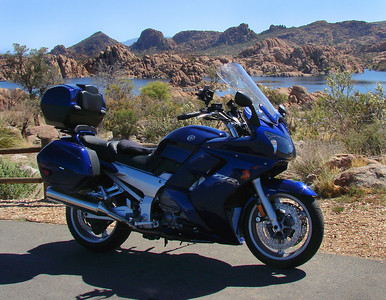 My FJR1300 lakeside in Prescott