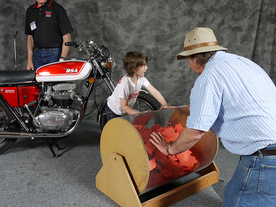 The raffle for the BSA A65 Lightning gets underway