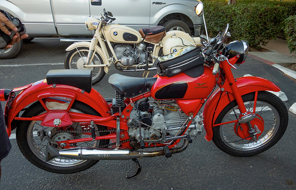 My BMW and Les's Moto Guzzi (staff bikes)