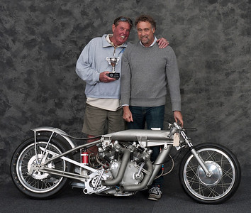 "John Stein, 1949 Vincent Rapaide ""Barn Job"" dragster. Winner Best Vincent."