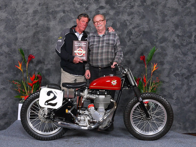 Fred	Mork, AHRMA Competition Flattrack, 1957 BSA Dick Mann Gold Star