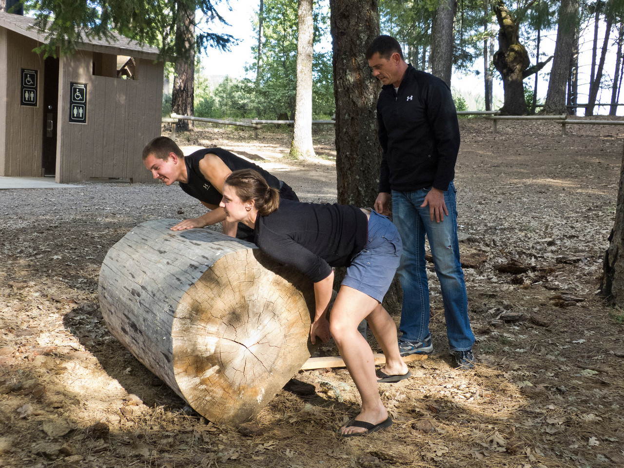 The traditional Rolling of the Oversized Log ceremony begins