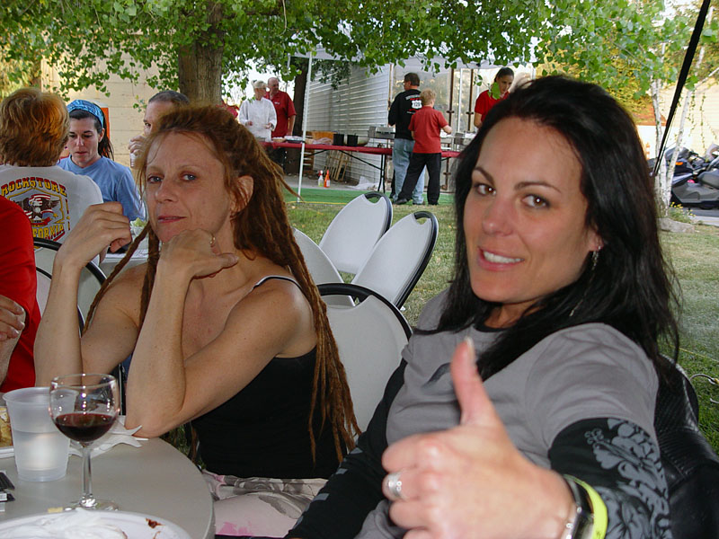SuperSarah & Constance enjoying some post ride Merlot.