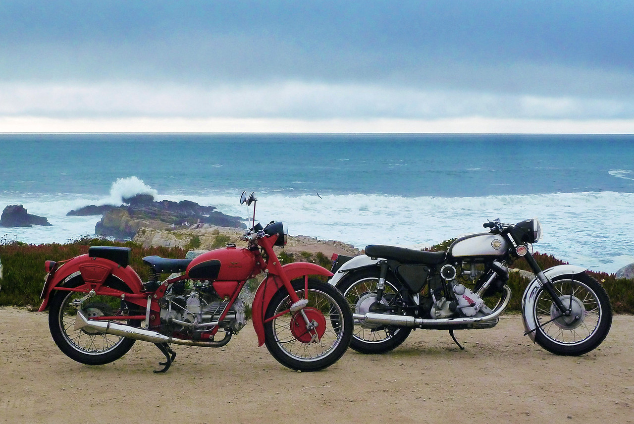 1955 Moto Guzzi Falcone 500cc and 1959 Panther Model 120 650cc at Pescadero Beach on Highway One, AKA the Pacific Coast Highway, Pescadero, CA.
