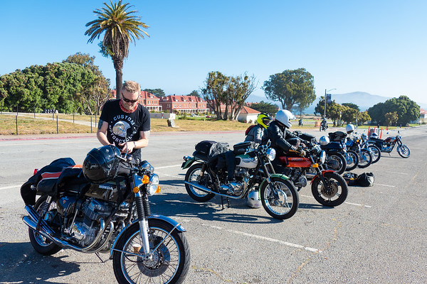 "Getting ready to roll out of the San Francisco Officer's Club parking area . This is  the ""clean bike"" section."