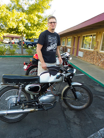 Legendary hard man Mike DiSalvo who rode his Motobi 125 all the way down from Ashland Oregon, used it in the Giro, then rode it home!
