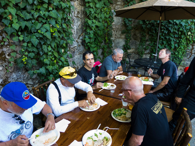 Lunch at The Stone House in Nevada City, CA. Dave on the right is in pasta heaven.