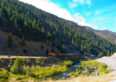 Freight train on the Feather River Highway