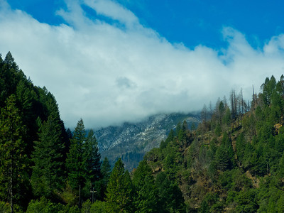 Snow on the mountains along the Feather River Highway