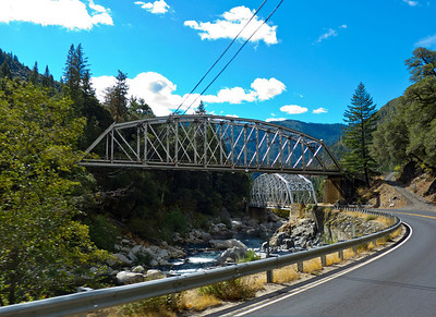 Dueling girder bridges on the Feather River Highway