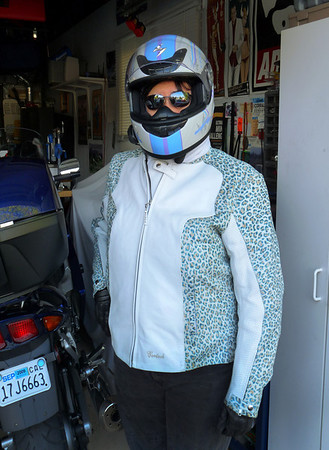 Phyl's new helmet & leather jacket